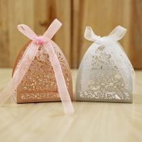 Papier Hochzeit-Candy-Box, mit Satinband, hohl, keine, 60x60x70mm, 50PCs/Menge, verkauft von Menge