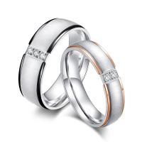 Ehepaar Fingerringe, Titanstahl, plattiert, unisex & verschiedene Stile für Wahl & mit Strass, verkauft von PC