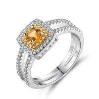 Messing Fingerring, mit Österreichischer Kristall, platiniert, verschiedene Größen vorhanden & Micro pave Zirkonia & für Frau & facettierte, frei von Nickel, Blei & Kadmium, 8mm, verkauft von PC
