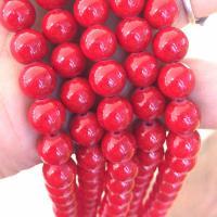 Mashan Jade Perle, rund, verschiedene Größen vorhanden, Bohrung:ca. 0.5-1mm, verkauft per ca. 15 ZollInch Strang