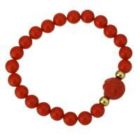 Synthetische Koralle Armband, mit Edelstahl, goldfarben plattiert, für Frau, 12.5x13mm, 8mm, verkauft per ca. 7 ZollInch Strang