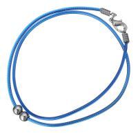 Nylonschnur Halskette Schnur, mit Messing, silberfarben plattiert, 5x6mm, 2mm, Länge:ca. 17 ZollInch, 10SträngeStrang/Menge, verkauft von Menge