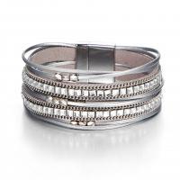 PO Leder Armband, Zinklegierung Magnetverschluss, silberfarben plattiert, mehrschichtig & unisex & mit Strass, frei von Nickel, Blei & Kadmium, verkauft per ca. 8 ZollInch Strang