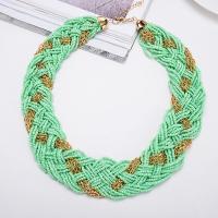 Zinklegierung Kette gewebte Halskette, mit Seedbead, Tropfen, Schlangekette & für Frau, keine, frei von Blei & Kadmium, verkauft per ca. 17.7 ZollInch Strang