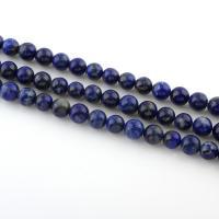 Lapislazuli Perlen, natürlicher Lapislazuli, rund, verschiedene Größen vorhanden, Bohrung:ca. 1mm, verkauft per ca. 15 ZollInch Strang