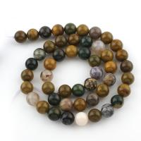 Ozean Achat Perle, rund, verschiedene Größen vorhanden, Bohrung:ca. 1mm, verkauft per ca. 15 ZollInch Strang
