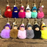 Pelzball Pom Pom Keychain, Zinklegierung, mit Plüsch & Nylon, goldfarben plattiert, für Frau, keine, 150mm, verkauft von PC