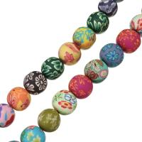 Polymer Ton Perlen , rund, für Frau, farbenfroh, 15x16x16mm, Bohrung:ca. 2mm, Länge:ca. 15 ZollInch, 5SträngeStrang/Menge, ca. 15PCs/Strang, verkauft von Menge