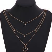 Zinklegierung Halskette, mit Eisenkette, Mond und Sterne, goldfarben plattiert, Oval-Kette & für Frau & 3-Strang & mit Strass, frei von Blei & Kadmium, verkauft per ca. 14 ZollInch Strang