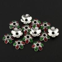 Zinklegierung Perlenkappe, Blume, antik silberfarben plattiert, Emaille, frei von Blei & Kadmium, 9x4mm, Bohrung:ca. 1.5mm, 20PCs/Tasche, verkauft von Tasche