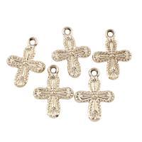 Zinklegierung Kreuz Anhänger, vergoldet, frei von Blei & Kadmium, 14x19x2mm, Bohrung:ca. 1mm, 20PCs/Tasche, verkauft von Tasche
