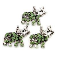 Zinklegierung Tier Anhänger, Elephant, antik silberfarben plattiert, mit Strass, frei von Blei & Kadmium, 48x35x5mm, Bohrung:ca. 5x6mm, verkauft von PC