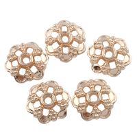 Zinklegierung Perlenkappe, Blume, vergoldet, frei von Blei & Kadmium, 3x14mm, Bohrung:ca. 2mm, 20PCs/Tasche, verkauft von Tasche