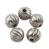 Zink Legierung Perlen Schmuck, Zinklegierung, rund, antik silberfarben plattiert, frei von Blei & Kadmium, 7x8mm, Bohrung:ca. 1mm, 50PCs/Tasche, verkauft von Tasche