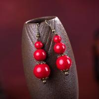 Messing Tropfen Ohrring, mit Koralle, antike Bronzefarbe plattiert, für Frau, 55mm, verkauft von Paar