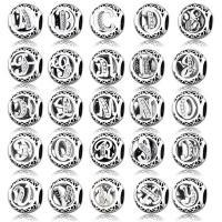 Zink Legierung Europa Alphabet Perlen, Zinklegierung, antik silberfarben plattiert, verschiedene Stile für Wahl & Micro pave Strass & ohne troll & hohl, frei von Nickel, Blei & Kadmium, 13mm, Bohrung:ca. 4mm, 20PCs/Menge, verkauft von Menge