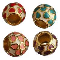Messing Großes Loch Perlen, Trommel, goldfarben plattiert, Emaille, keine, 10x8x10mm, Bohrung:ca. 4mm, 10PCs/Menge, verkauft von Menge