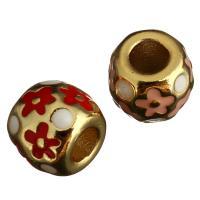 Messing European Perlen, Trommel, goldfarben plattiert, ohne troll & Emaille, keine, 11x9x11mm, Bohrung:ca. 5mm, 10PCs/Menge, verkauft von Menge