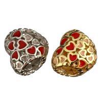Messing Großes Loch Perlen, Trommel, plattiert, Emaille, keine, 10x11x7mm, Bohrung:ca. 4mm, 10PCs/Menge, verkauft von Menge
