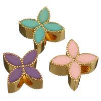 Messing European Perlen, Blume, goldfarben plattiert, ohne troll & Emaille, keine, 11x11x7mm, Bohrung:ca. 5mm, 10PCs/Menge, verkauft von Menge