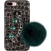Handy-Fällen, Silikon, mit Plüsch & Kristall & Edelstahl, metallschwarz plattiert, für iPhone SAMSUNG & unisex & verschiedene Stile für Wahl & facettierte, keine, verkauft von PC