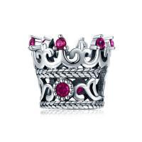 Thailand European Perlen, Krone, Micro pave Zirkonia & ohne troll, 10x12mm, verkauft von PC