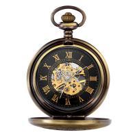 Zinklegierung Taschenuhr, mit Glas, antike Bronzefarbe plattiert, für den Menschen & wasserdicht & glänzend, 40.5x10mm, Länge:ca. 13.7 ZollInch, verkauft von PC