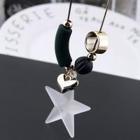 Zinklegierung Pullover Halskette, mit Eisenkette & Acryl, Stern, plattiert, Schlangekette & für Frau, frei von Blei & Kadmium, 700x50mm, Länge:ca. 27.5 ZollInch, verkauft von Paar