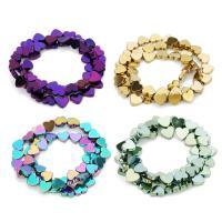 Nicht-magnetische Hämatit Perlen, Non- magnetische Hämatit, Herz, plattiert, verschiedene Größen vorhanden, keine, Bohrung:ca. 1mm, verkauft per ca. 12 ZollInch Strang