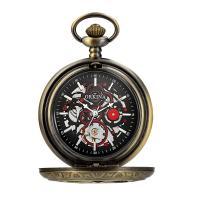 Zinklegierung Taschenuhr, mit Glas, antike Bronzefarbe plattiert, für den Menschen & wasserdicht & glänzend & hohl, keine, 40.5x10mm, Länge:ca. 13.7 ZollInch, verkauft von PC