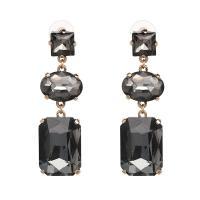 Zinklegierung Tropfen Ohrring, mit Kristall, Edelstahl Stecker, goldfarben plattiert, für Frau, keine, frei von Blei & Kadmium, 18x61mm, verkauft von Paar
