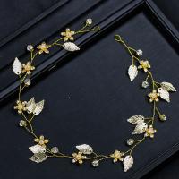Zinklegierung Schweißband, mit ABS-Kunststoff-Perlen, goldfarben plattiert, für Braut & mit Strass, frei von Blei & Kadmium, 400x30mm, verkauft von PC