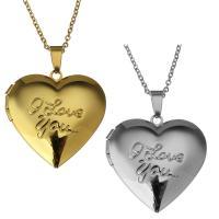 Mode Medaillon Halskette, Edelstahl, mit Verlängerungskettchen von 2Inch, Herz, Wort ich liebe dich, plattiert, Oval-Kette & für Frau, keine, 29x29mm, 1.5mm, verkauft per ca. 18 ZollInch Strang