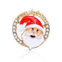 Zinklegierung Brosche, Weihnachtsmann, goldfarben plattiert, Weihnachtsschmuck & für Frau & Emaille & mit Strass, frei von Blei & Kadmium, 35x37mm, verkauft von PC