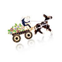 Zinklegierung Brosche, goldfarben plattiert, Weihnachtsschmuck & für Frau & Emaille & mit Strass, frei von Blei & Kadmium, 70x35mm, verkauft von PC