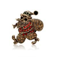 Zinklegierung Brosche, Weihnachtsmann, antike Goldfarbe plattiert, Weihnachtsschmuck & für Frau & mit Strass, frei von Blei & Kadmium, 33x35mm, verkauft von PC
