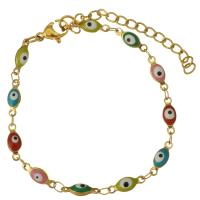 Edelstahl Armband, blöser Blick, goldfarben plattiert, unisex & Emaille, 11x4mm, verkauft per ca. 8 ZollInch Strang