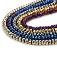 Nicht-magnetische Hämatit Perlen, Non- magnetische Hämatit, Rondell, plattiert, keine, 8x5mm, Bohrung:ca. 1mm, ca. 80PCs/Strang, verkauft per ca. 15.5 ZollInch Strang