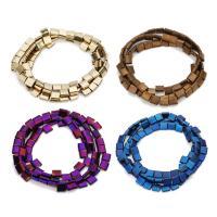 Nicht-magnetische Hämatit Perlen, Non- magnetische Hämatit, Quadrat, plattiert, keine, 5x5mm, Bohrung:ca. 1mm, ca. 58PCs/Strang, verkauft per ca. 11 ZollInch Strang