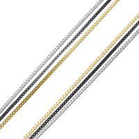 Edelstahl Nekclace Kette, mit Verlängerungskettchen von 1Inch, plattiert, Kastenkette & für Frau & 3-Strang, 1mm, Länge:ca. 17.5 ZollInch, 10SträngeStrang/Menge, verkauft von Menge