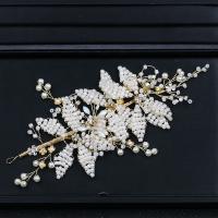 Zinklegierung Schweißband, mit ABS-Kunststoff-Perlen & Kristall, goldfarben plattiert, für Braut & facettierte & mit Strass, frei von Blei & Kadmium, 220x130mm, verkauft von PC