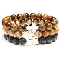 Edelstein Armband, mit Magnesit, Kreuz, verschiedenen Materialien für die Wahl & unisex, 10mm, verkauft per ca. 7.8 ZollInch Strang