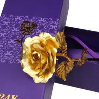 Künstliche Blumendekoration, Goldfolie, Rose, 24 K vergoldet, Mit Verpackungskasten, keine, 100x250x50mm, verkauft von setzen