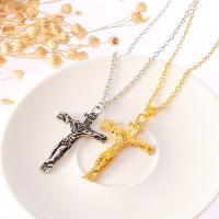 Zinklegierung Schmuck Halskette, Jesus Kreuz, plattiert, unisex & Oval-Kette, keine, Länge:ca. 19.6 ZollInch, 20SträngeStrang/Menge, verkauft von Menge
