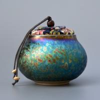 Porzellan Teebüchse, handgemacht, farbenfroh, 90x85mm, verkauft von PC