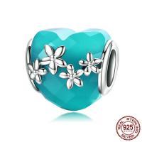 Thailand European Perlen, mit Kristall, Herz, für Frau & ohne troll, 11x22mm, Bohrung:ca. 4.5-5mm, verkauft von PC