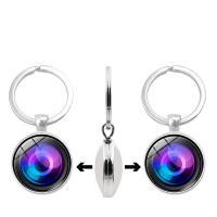 Mode-Zeit-Edelstein Keychain, Zinklegierung, mit Glas, flache Runde, silberfarben plattiert, Zeit Edelstein Schmuck & unisex & verschiedene Muster für Wahl & Aufkleber, frei von Blei & Kadmium, 30mm, verkauft von PC