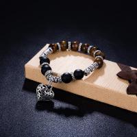 Zinklegierung Armband, mit Naturstein & Achat, Herz, antik silberfarben plattiert, unisex & verschiedene Stile für Wahl, frei von Blei & Kadmium, 10mm, verkauft von PC