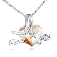 Messing Halskette, mit Österreichischer Kristall, Herz, platiniert, Oval-Kette & für Frau & facettierte & mit Strass, keine, frei von Nickel, Blei & Kadmium, 26x20mm, verkauft per 17.7 ZollInch Strang