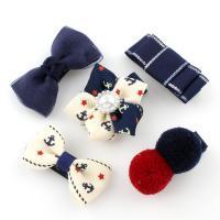 Ripsband Haar-Schmuck-Set, Haarspange, mit Gaze & Baumwollsamt & Eisen & Acryl, für Kinder, 42x24x14mm-44x41x16mm, 5PCs/Tasche, verkauft von Tasche